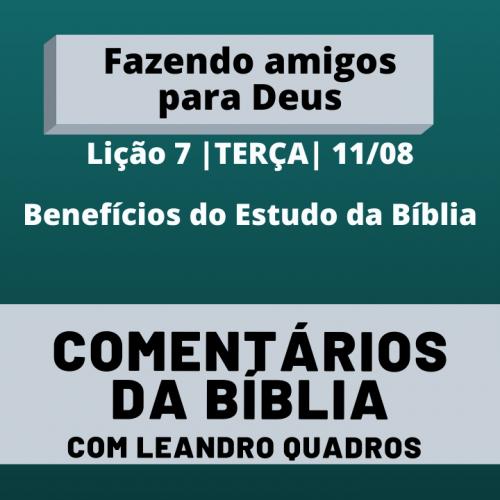 Terça |11/08| Benefícios do Estudo da Bíblia